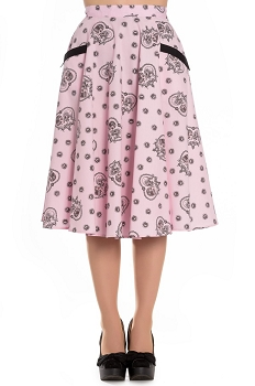 Hell Bunny Keepsake 50's Sugar Skull Pink Skirt